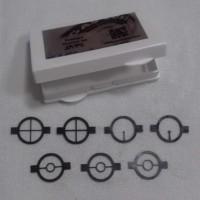 Conjunto de inserts com 7 unidades em 3 modelos - Retículo[2], Anel Central[3], Ponto[2]